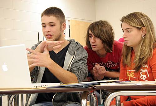 High school students using sign language