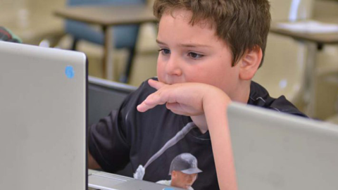 Elementary student using ClickStart Fusion